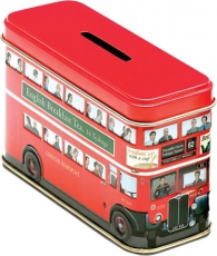 Red Bus Money Box Tin with 14 English Breakfast Teabags