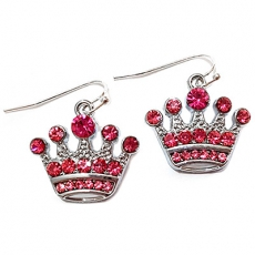 Pink Diamante Crown Earrings