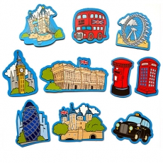 Set of 10 Cartoon London Souvenir Magnets