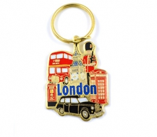 Metal London City Scenes Keyring