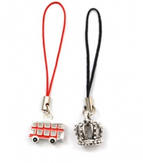 Gift Set of two Red Bus and Crown Phone Charms