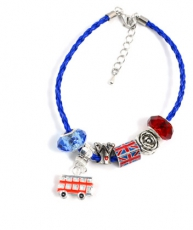 Blue Braided Leather Union Jack Charm Bracelet
