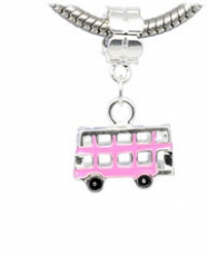 Pink Enamel Bus Charm Dangle Bead For Charm Bracelet