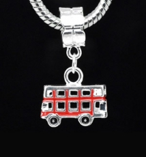 Red Enamel Bus Charm Dangle Bead For Charm Bracelet