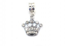 Silver Tone Diamante Crown Dangle Bead