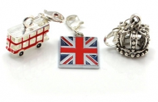Gift Set of Three Enamelled Metal London Charms