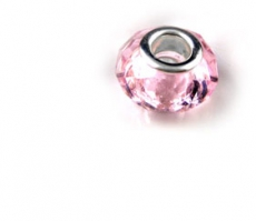 Silver & Pink Crystal Faceted Bead For Charm Bracelet
