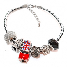 Black & White Union Jack Mini Cooper Charm Bracelet