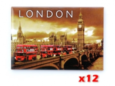 12x London Magnets with Big Ben and Buses