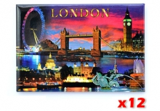 12x London City by Night Fridge Magnets
