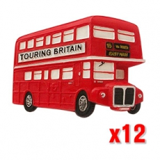 12x British Red Bus Magnets