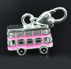 Silver Plated Pink Enamel Bus Charm