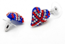 Union Jack Rhinestone Heart Earrings