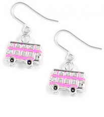 Pink Enamel Bus Earrings