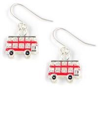 Red Enamel Bus Earrings