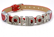 Red Rhinestone London Letter Bracelet