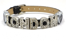Black Love London Rhinestone Letters Bracelet
