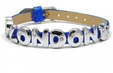 Blue Glitter Love London Rhinestone Letters Bracelet