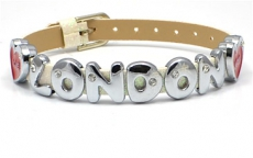 White Glitter Love London Rhinestone Letters Bracelet