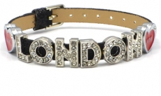 Black Glitter Love Diamante London Letters Bracelet