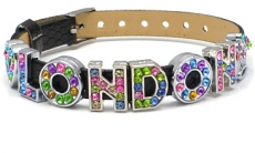 Black Multicoloured Rhinestone London Letters Bracelet