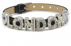 Black Diamante London Letters Bracelet