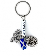 Scotland Keyring with Edinburgh Castle & Thistle Charms