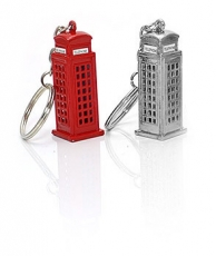 Two Die Cast Metal Telephone Box Keyrings