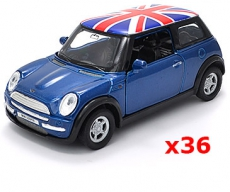 36x Blue Union Jack Mini Cooper Model Car UK