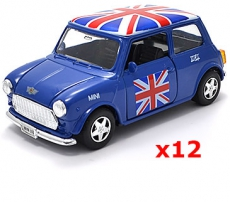 12x Pullback Blue Union Jack Mini Cooper Model Cars