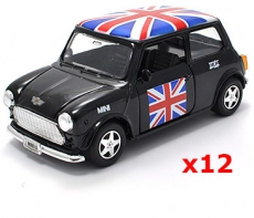 12x Pullback Black Union Jack Mini Cooper Model Cars