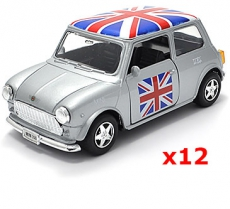 12x Pullback Silver Union Jack Mini Cooper Model Cars