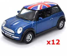 12x Blue Union Jack Mini Cooper Model Car UK