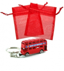 Red Bus Keyring in Organza Bag Wedding Favour