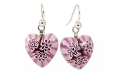 Amethyst Flowers Millefiori Heart Charm Earrings