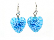 Aqua Flowers Millefiori Heart Charm Earrings