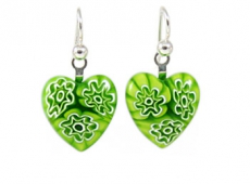 Green Flowers Millefiori Heart Charm Earrings