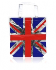 Metallic Silver Union Jack Shopping Bag