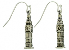 Silver Metal London Big Ben Earrings