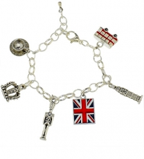 Silver Plated Bracelet with London Charms
