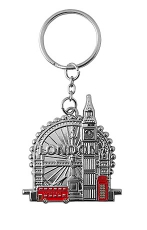 British Red Elements Metal London Keyring