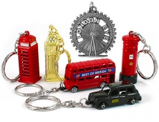 Gift Set of Six British Themed Metal Keyrings