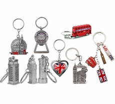 Mix of Nine London Icons Souvenir Key Rings