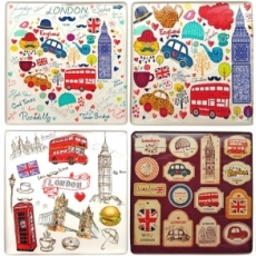 London Illustrations Square Magnet
