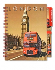 Sepia London Bus Note Book and Pen