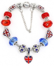 London Bracelet with Union Jack Bus Charms