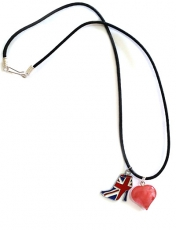 Union Jack with Cherry Quartz Heart Necklace