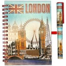 Sky Blue London Souvenir Note Book and Pen