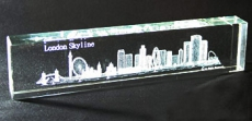 Large Laser Art Crystal London Skyline Paperweight