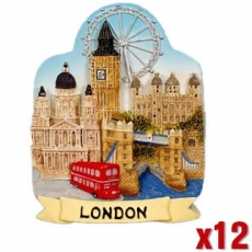12x Resin London Souvenir Collage Magnets